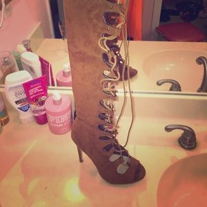 Lace Up Thigh High Heels