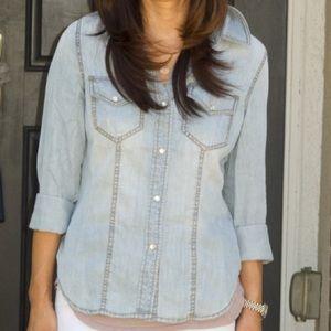 Trouve Tops - Trouvé Faded Denim Shirt, Size Medium