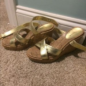 MIA Shoes - Gold Criss Cross Wedges