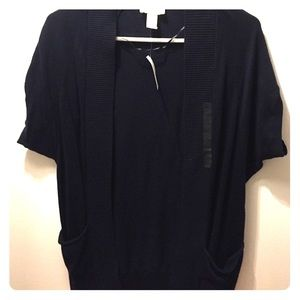 LOFT XXSP DARK NAVY BLUE SHORT SLEEVE CARDIGAN