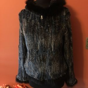 Chic Overland Knitted Rabbit Fur Jacket with Hood