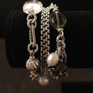 David Yurman Jewelry - David Yurman SS Smoky Quartz/Rose Quartz Bracelet