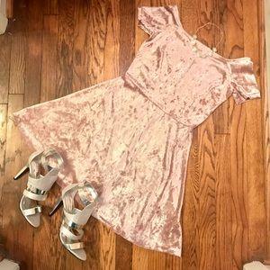 *SALE*Pink Crushed Velvet Off the Shoulder Dress