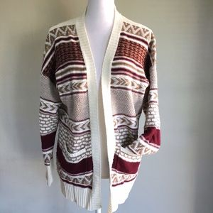 Chloe K Sweaters - Chloe K Cream Burgundy Knit Cardigan Sz Large