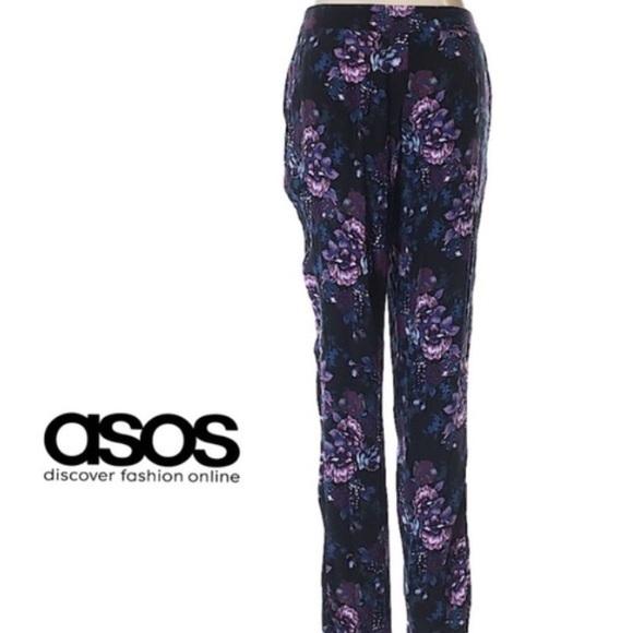 ASOS - ASOS Purple Floral Pants Size 4 Tapered Leg NWT ...