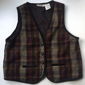 90's vintage wool plaid vest