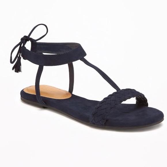 b78e29d3e69 Sueded Tie-Back T-Strap Sandals - Navy Blue