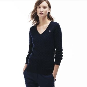 Lacoste Sweaters - Women's Lacoste Cotton Cable Knit V Neck Sweater