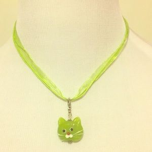 Handmade Jewelry - Artisan Glass Four-Strand Green Cat Necklace