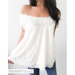 Mossimo Supply Co. Tops - Lovely White Lace Off The Shoulder Top