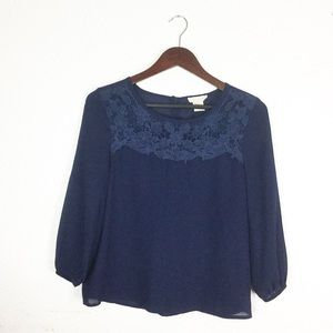 Francesca's Collections Tops - NAVY LACE BLOUSE