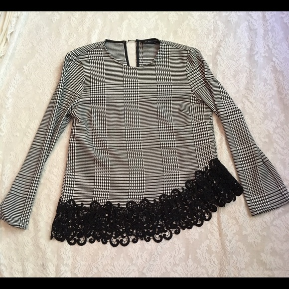 df53e20f7e Zara Tops | Womens Asymmetrical Houndstooth Lace Top | Poshmark