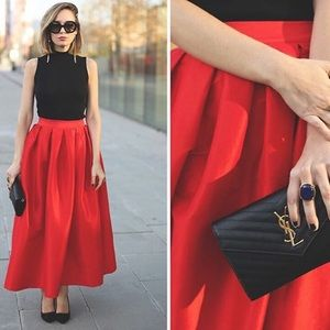 chicwish Dresses & Skirts - 🖤Pleated Red Maxi Skirt