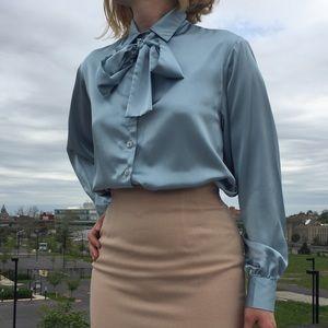 Vintage 80s Ice Blue Tie Neck Blouse