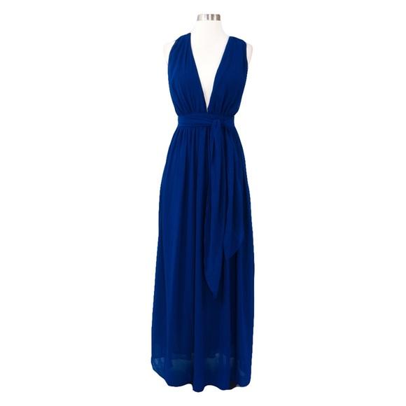 5a8a2520748 Navy Blue Plunge Deep V Neck Tie Waist Maxi Dress