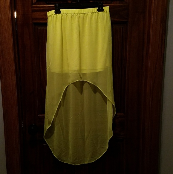 express express neon yellow high low skirt from celina s