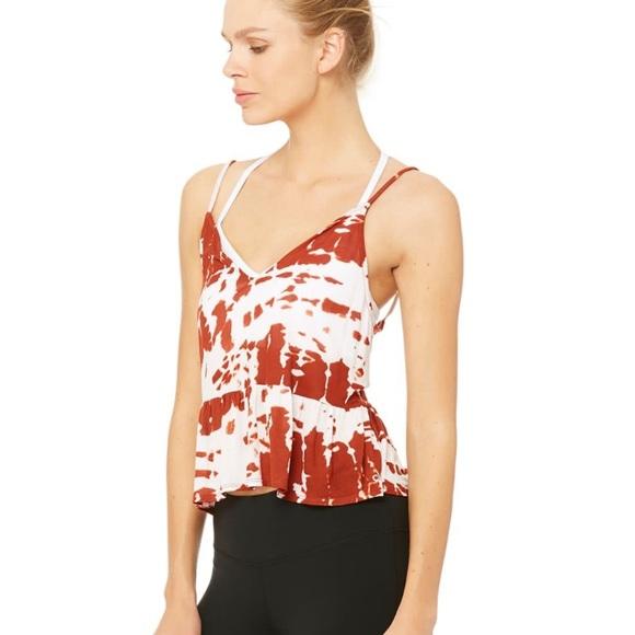 Alo Flutter Crop Tank Red Tie Dye