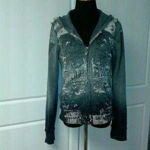 Archaic Sweaters - Archaic zip up grey/blue/green hoodie