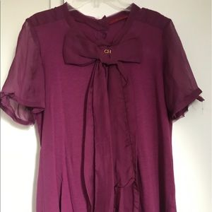 Carolina Herrera Tops - Carolina Herrera purple bow t-shirt 💜👑