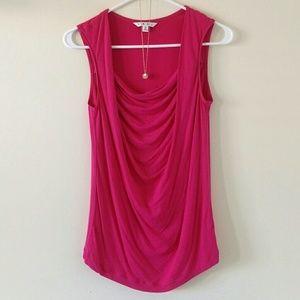 CAbi Draped Front Pink Sleeveless Top