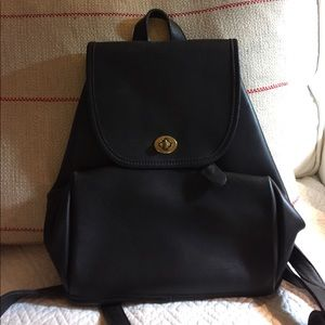 COACH Black Leather Back Pack from early 2000's.