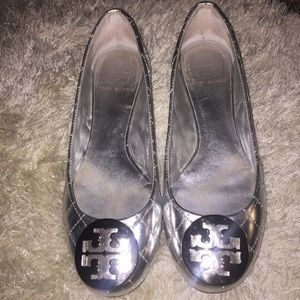 Authentic Tory Burch Reva Metallic Quilted Flats