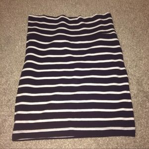 blue and white striped bodycon skirt