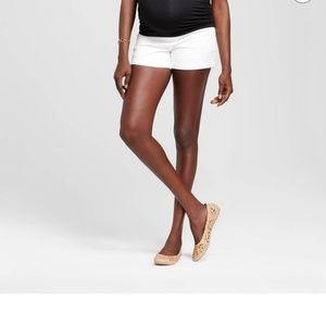 Maternity Over-the-Belly White Denim Shorts