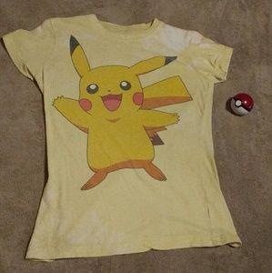 Pokemon Tops - Tie dyed Pikachu shirt