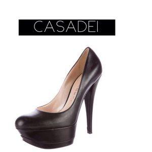 Casadei Shoes - CASADEI LEATHER PLATFORM PUMPS