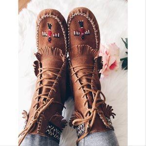 Minnetonka Shoes - Minnetonka RARE Fringe Suede Ethnic Ankle Boot 9