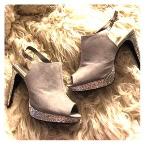 Rampage Shoes - Rampage peep toe bootie silver sparkle sexy! 8M