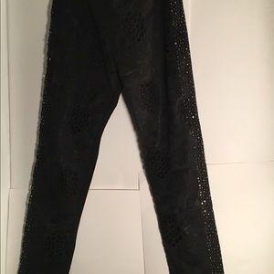 Pants - Black pants with rhinestones on the side