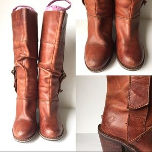 Fly London Shoes - Fly London Distressed Leather Brown Tall Boots
