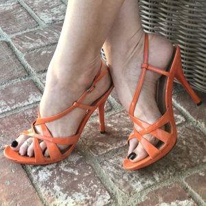 Ann Marino Shoes - ORANGE STRAPPY stiletto heels sandals slingback 9