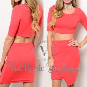 Coral Crop Top and Skirt Set