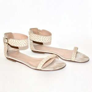 Club Monaco Hayley Gold Studded Ivory Sandals