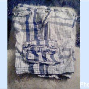 Blue & White Plaid Bermuda Shorts