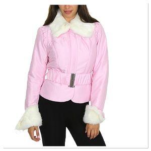 Pink Faux Fur-Trim Belted Jacket, NWOT