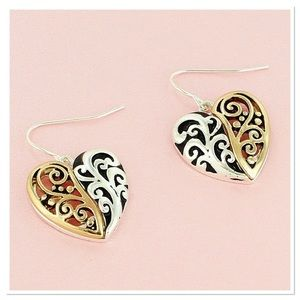 Elegant Two Tone Heart Earrings