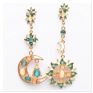 Colorful Crystal Asymmetrical Earrings