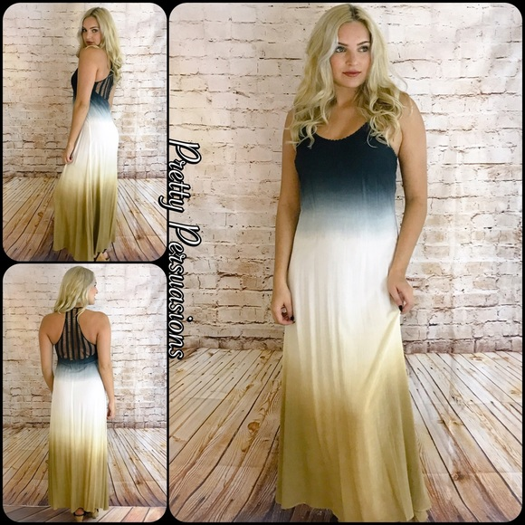 175efdb730 NWT Black Ivory Tan Ombré Crochet Back Maxi Dress. Boutique. Pretty  Persuasions