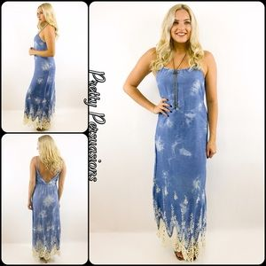 Pretty Persuasions Dresses & Skirts - NWT Denim Blue & Crochet V-Back Maxi Dress