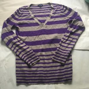 GAP Sweaters - GAP Purple and Gray Striped V Neck Sweater