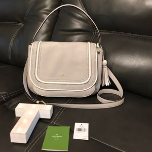 kate spade Handbags - Kate Spade Light Gray & White Leather Purse😍