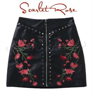 Scarlet Rose Boutique Dresses & Skirts - 🌹Faux Leather Mini Skirt with Roses & Studs🌹