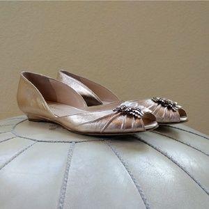 Loeffler Randall Rose Gold Peep-toe Flats Size 7