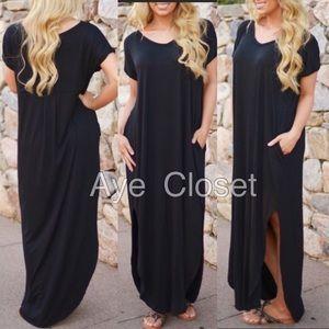 Dresses & Skirts - Oversized loose fit slit long maxi dress pockets