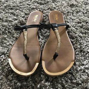 Nisolo Shoes - Black and Gold Sandals