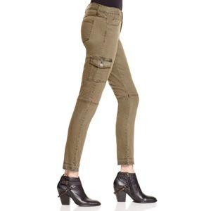 Flying Monkey Cargo Skinny Jeans In Army Green